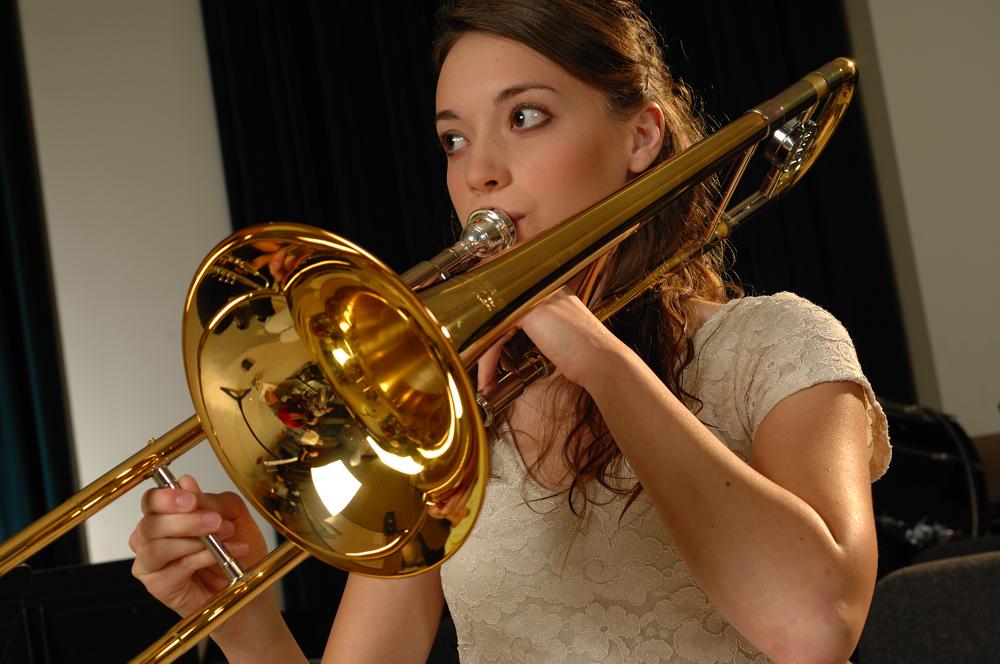Trombone Player Female Yamaha Professional Trombone